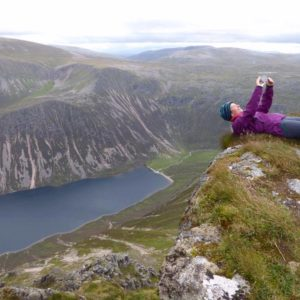 Shona Macpherson takes a selfie with a spectacular Cairngorm view