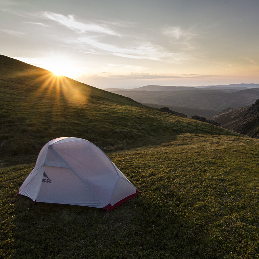 MSR tent pitched up high in the Cairngorms at sunset